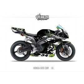 Kit déco Honda CBR600RR 2007/12 1.6 Noir Vert Blanc