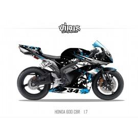 Kit déco Honda CBR600RR 2007/12 1.7 Noir Bleu Blanc