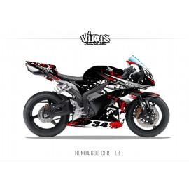 Kit déco Honda CBR600RR 2007/12 1.8 Noir Rouge Blanc