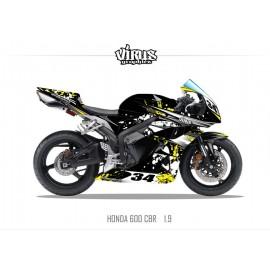 Kit déco Honda CBR600RR 2007/12 1.9 Noir Jaune Blanc