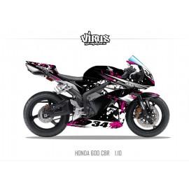 Kit déco Honda CBR600RR 2007/12 1.10 Noir Rose Blanc