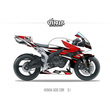 Kit déco Honda CBR600RR 2007/12 3.1 Blanc Rouge Noir