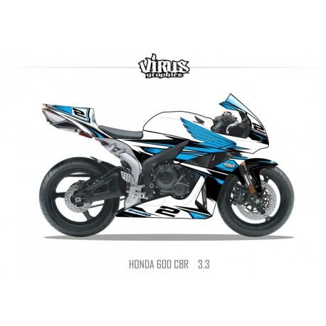 Kit déco Honda CBR600RR 2007/12 3.3 Blanc Bleu Noir