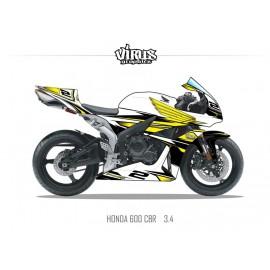Kit déco Honda CBR600RR 2007/12 3.4 Blanc Jaune Noir