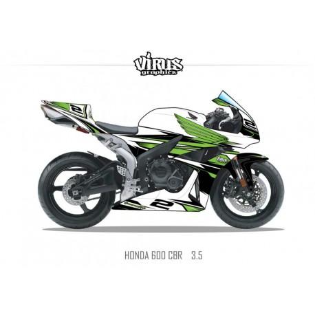 Kit déco Honda CBR600RR 2007/12 3.5 Blanc Vert Noir