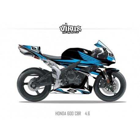 Kit déco Honda CBR600RR 2007/12 4.6 Noir Bleu Blanc