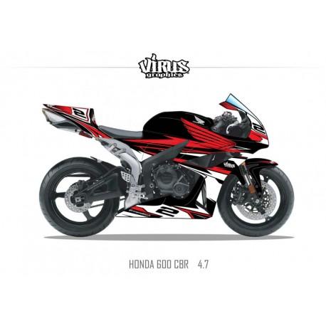 Kit déco Honda CBR600RR 2007/12 4.7 Noir Rouge Blanc