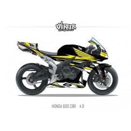 Kit déco Honda CBR600RR 2007/12 4.9 Noir Jaune Blanc