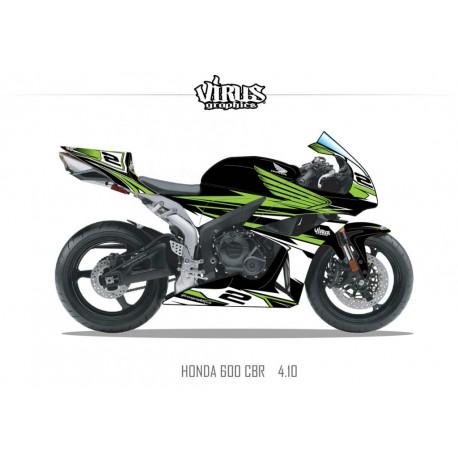 Kit déco Honda CBR600RR 2007/12 4.10 Noir Vert Blanc
