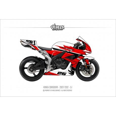 Kit déco Honda CBR600RR 2007/12 5.1 Blanc Rouge Noir