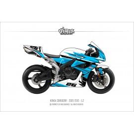 Kit déco Honda CBR600RR 2007/12 5.2 Blanc Bleu Noir
