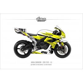 Kit déco Honda CBR600RR 2007/12 5.3 Blanc Jaune Noir