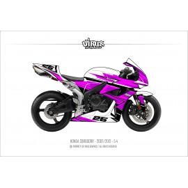Kit déco Honda CBR600RR 2007/12 5.4 Blanc Rose Noir