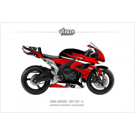 Kit déco Honda CBR600RR 2007/12 6.1 Noir Rouge Blanc