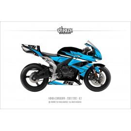 Kit déco Honda CBR600RR 2007/12 6.2 Noir Bleu Blanc