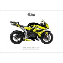 Kit déco Honda CBR600RR 2007/12 6.3 Noir Jaune Blanc