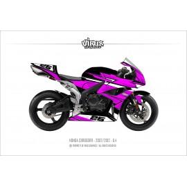 Kit déco Honda CBR600RR 2007/12 6.4 Noir Rose Blanc