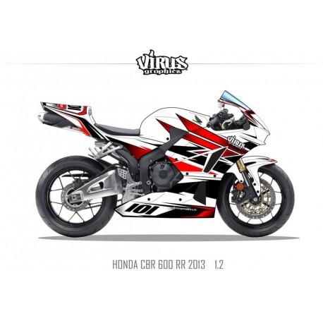Kit déco Honda CBR600RR 2013 1.2 Blanc Rouge Noir