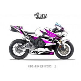 Kit déco Honda CBR600RR 2013 1.3 Blanc Rose Noir