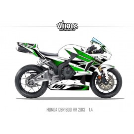 Kit déco Honda CBR600RR 2013 1.4 Blanc Vert Noir