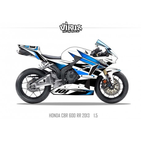 Kit déco Honda CBR600RR 2013 1.5 Blanc Bleu Noir