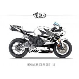 Kit déco Honda CBR600RR 2013 1.6 Blanc Gris Noir