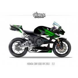 Kit déco Honda CBR600RR 2013 2.2 Noir Vert Blanc