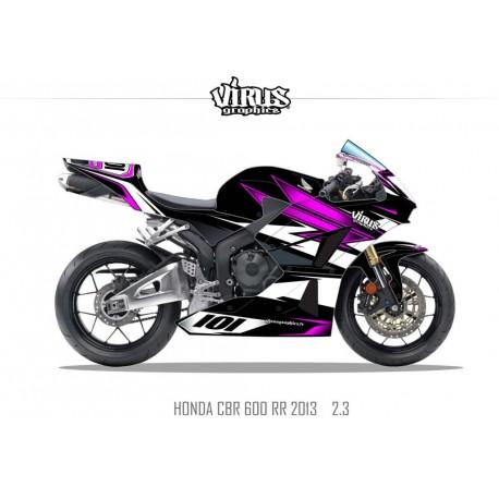Kit déco Honda CBR600RR 2013 2.3 Noir Rose Blanc