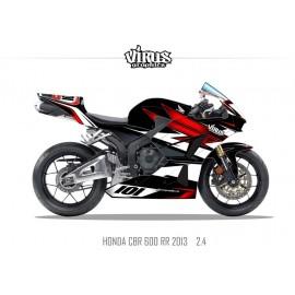 Kit déco Honda CBR600RR 2013 2.4 Noir Rouge Blanc