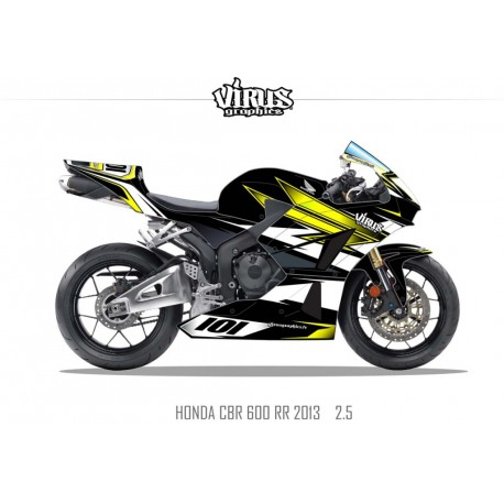 Kit déco Honda CBR600RR 2013 2.5 Noir Jaune Blanc
