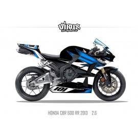 Kit déco Honda CBR600RR 2013 2.6 Noir Bleu Blanc