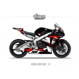 Kit déco Honda CBR1000RR 2008/11 1.5 Noir Blanc Rouge