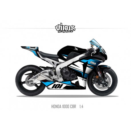 Kit déco Honda CBR1000RR 2008/11 1.4 Noir Blanc Bleu