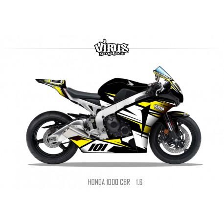 Kit déco Honda CBR1000RR 2008/11 1.6 Noir Blanc Jaune