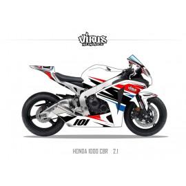 Kit déco Honda CBR1000RR 2008/11 2.1 Blanc Rouge Bleu