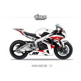 Kit déco Honda CBR1000RR 2008/11 2.2 Blanc Rouge Noir