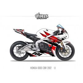 Kit déco Honda CBR1000RR 2012/16 1.1 Blanc Rouge Noir
