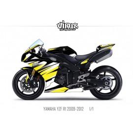 Kit déco Yamaha R1 2009/14 1.1 Noir Blanc Jaune