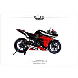 Kit déco Yamaha R3 2015/18 1.1 Noir Rouge Blanc