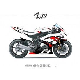 Kit déco Yamaha R6 2008/16 1.1 Blanc Noir Rouge