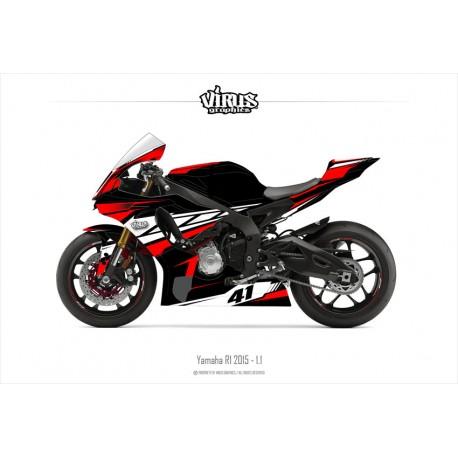 Kit déco Yamaha R1 2015/19 1.1 Noir Rouge Blanc