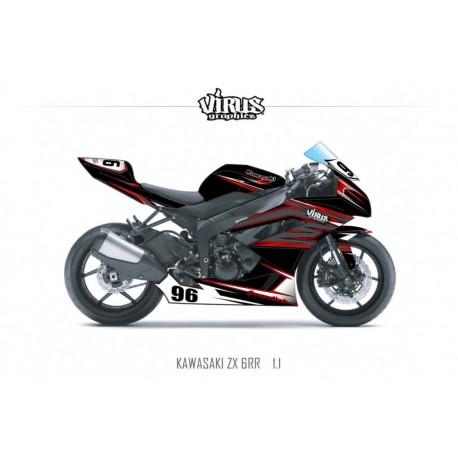Kit déco Kawasaki ZX6RR 2011 1.1 Noir Gris Rouge
