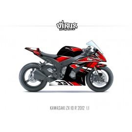 Kit déco Kawasaki ZX10R 2011/15 1.1 Noir Rouge Blanc