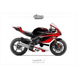 Kit déco Yamaha R6 2017 1.1 Noir Rouge Blanc