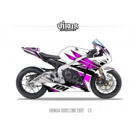 Kit déco Honda CBR1000RR 2012/16 1.2 Blanc Rose Noir