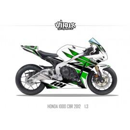 Kit déco Honda CBR1000RR 2012/16 1.3 Blanc Vert Noir
