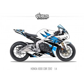 Kit déco Honda CBR1000RR 2012/16 1.4 Blanc Bleu Noir
