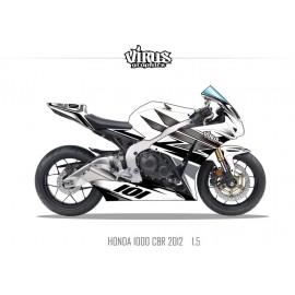 Kit déco Honda CBR1000RR 2012/16 1.5 Blanc Gris Noir