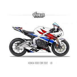 Kit déco Honda CBR1000RR 2012/16 1.8 Blanc Rouge Bleu