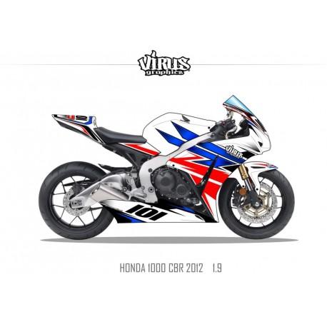Kit déco Honda CBR1000RR 2012/16 1.9 Blanc Bleu Rouge